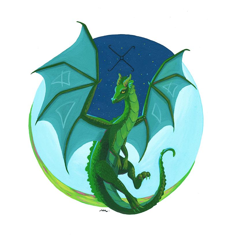 Peinture Totem sur mesure - Dragon - Green Mama Art